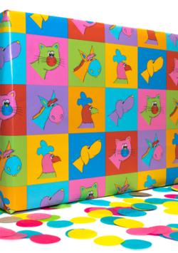 5 Bögen Geschenkpapier: Kunterbunte Kacheln