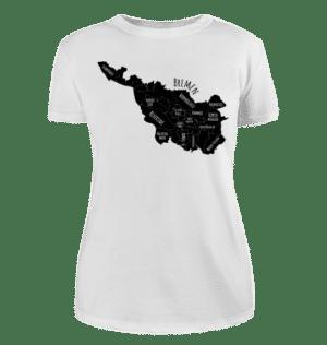 Damen T-Shirt Bremen-Map schwarz